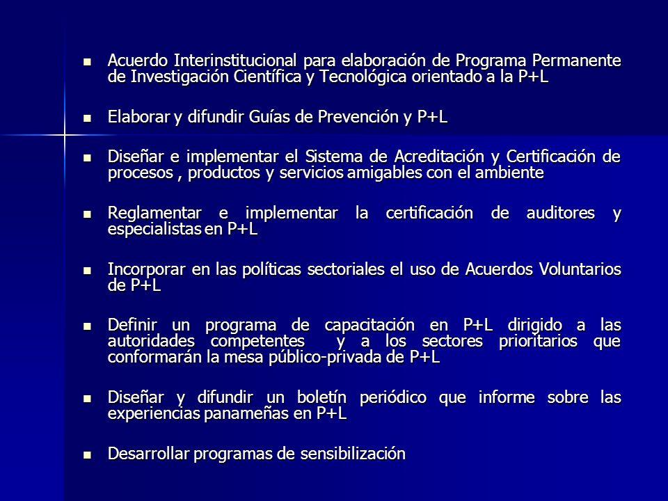 Acuerdo Interinstitucional para elaboración de Programa Permanente de Investigación Científica y Tecnológica orientado a la P+L