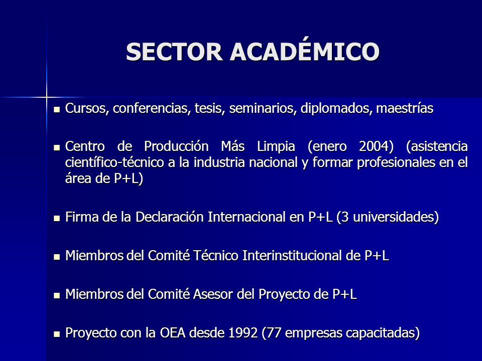 SECTOR ACADÉMICO Cursos, conferencias, tesis, seminarios, diplomados, maestrías.