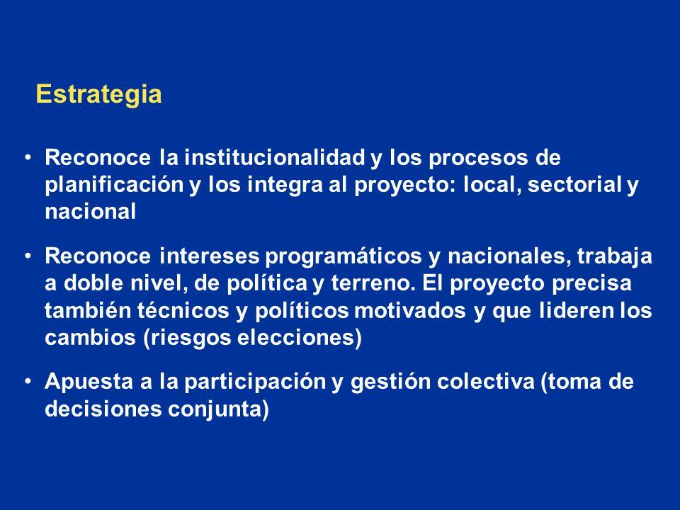 Estrategia Reconoce la institucionalidad y los procesos de planificación y los integra al proyecto: local, sectorial y nacional.
