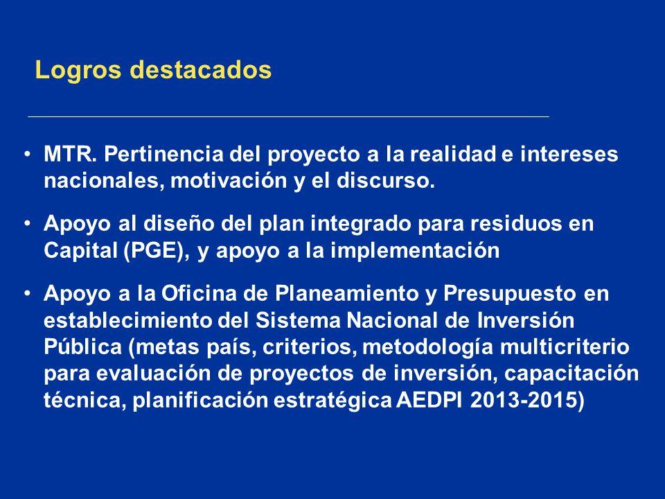 Logros destacadosMTR. Pertinencia del proyecto a la realidad e intereses nacionales, motivación y el discurso.