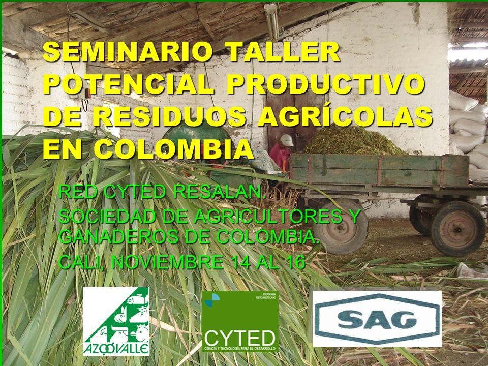 SEMINARIO TALLER POTENCIAL PRODUCTIVO DE RESIDUOS AGRÍCOLAS EN COLOMBIA