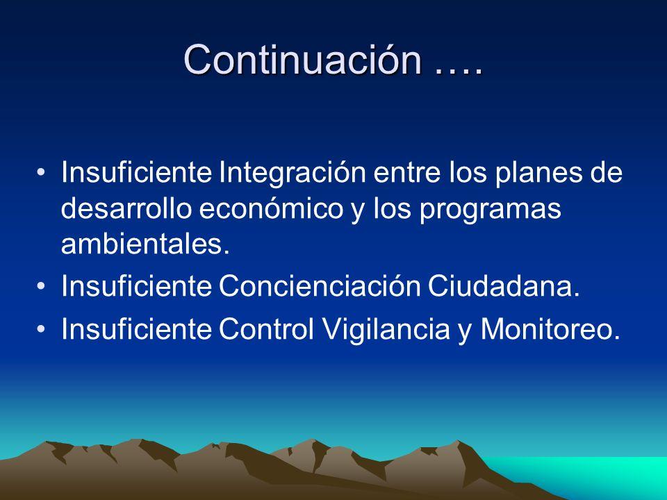 Continuación …. Insuficiente Integración entre los planes de desarrollo económico y los programas ambientales.