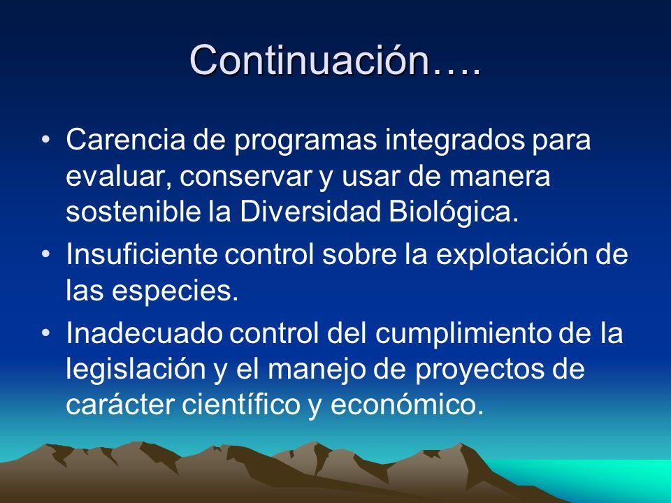 Continuación…. Carencia de programas integrados para evaluar, conservar y usar de manera sostenible la Diversidad Biológica.