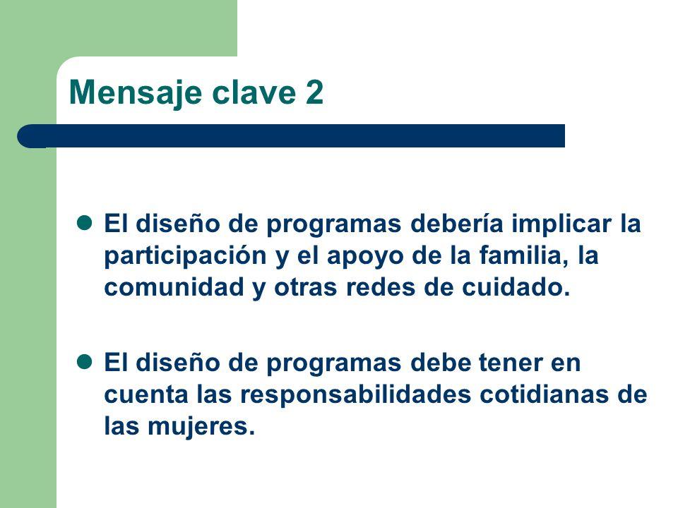 Mensaje clave 2 El diseño de programas debería implicar la participación y el apoyo de la familia, la comunidad y otras redes de cuidado.
