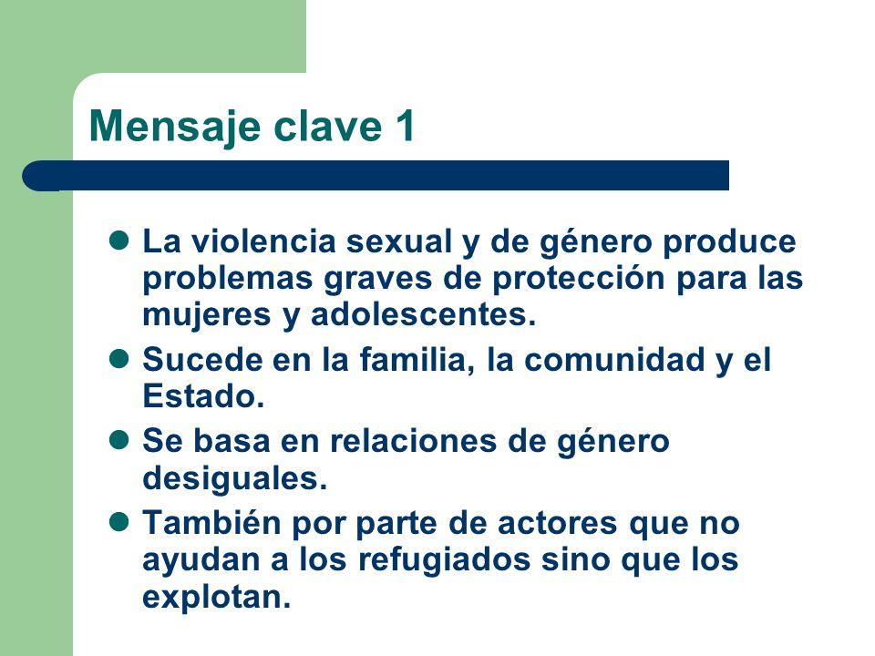 Mensaje clave 1 La violencia sexual y de género produce problemas graves de protección para las mujeres y adolescentes.
