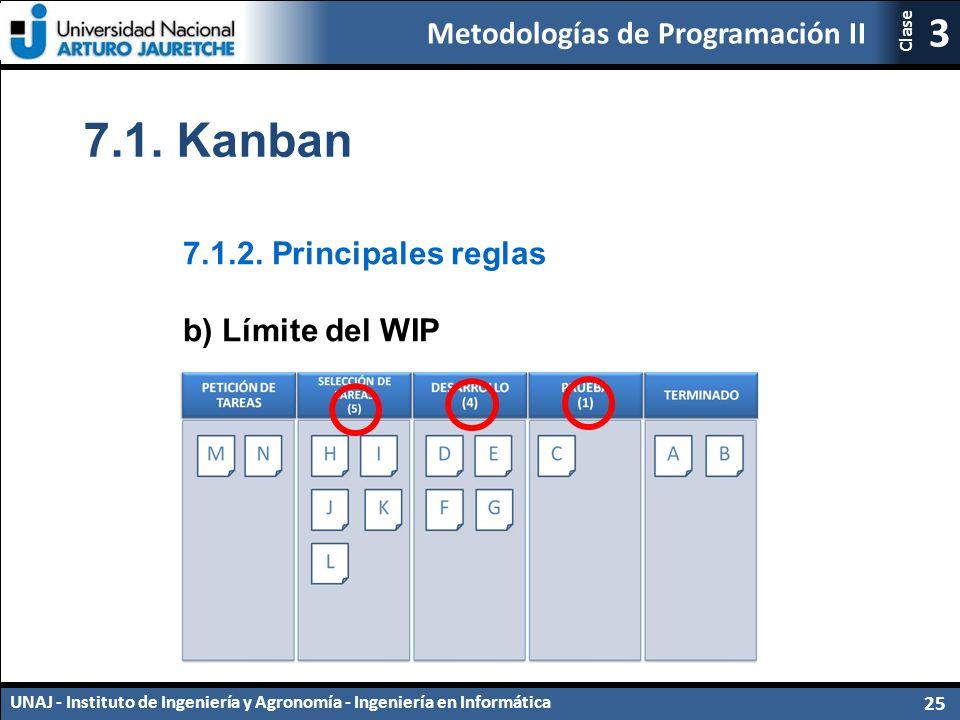 7.1. Kanban 7.1.2. Principales reglas b) Límite del WIP