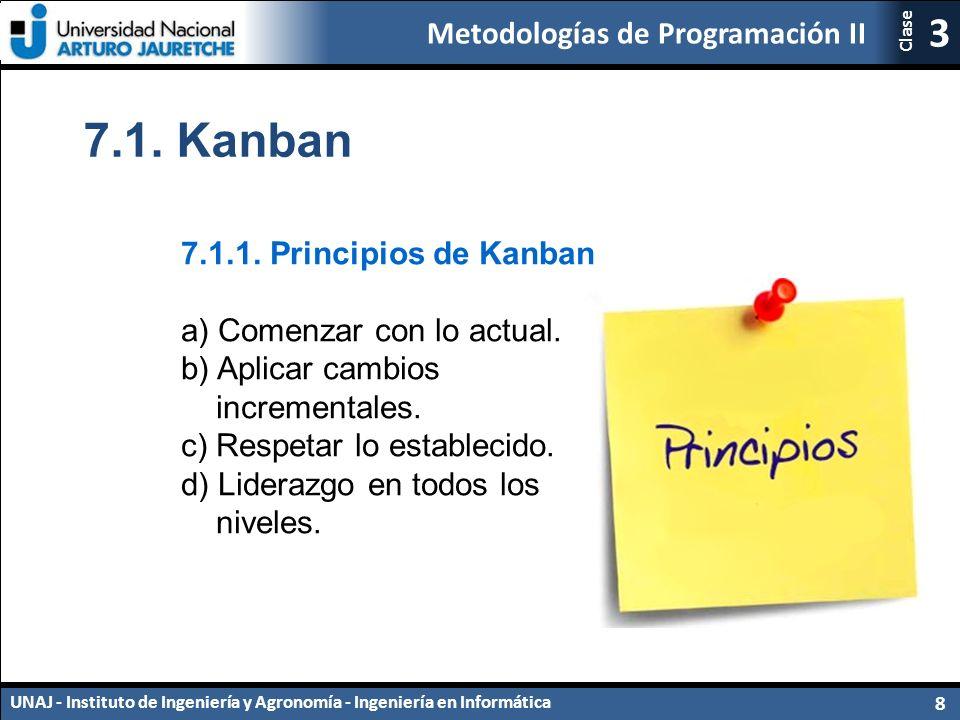 7.1. Kanban 7.1.1. Principios de Kanban a) Comenzar con lo actual.
