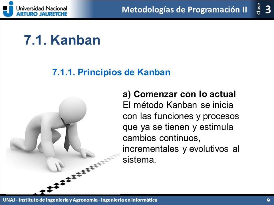 7.1. Kanban 7.1.1. Principios de Kanban a) Comenzar con lo actual