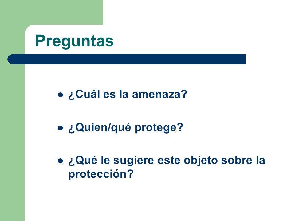 Preguntas ¿Cuál es la amenaza ¿Quien/qué protege