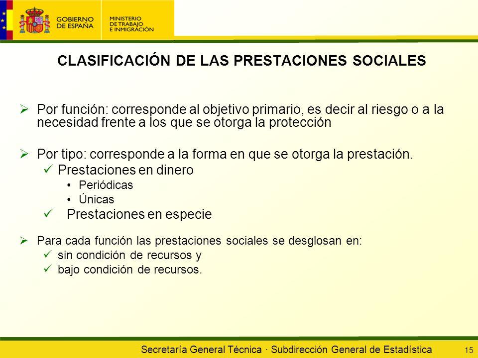CLASIFICACIÓN DE LAS PRESTACIONES SOCIALES