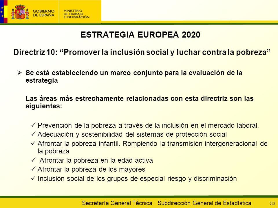 ESTRATEGIA EUROPEA 2020 Directriz 10: Promover la inclusión social y luchar contra la pobreza