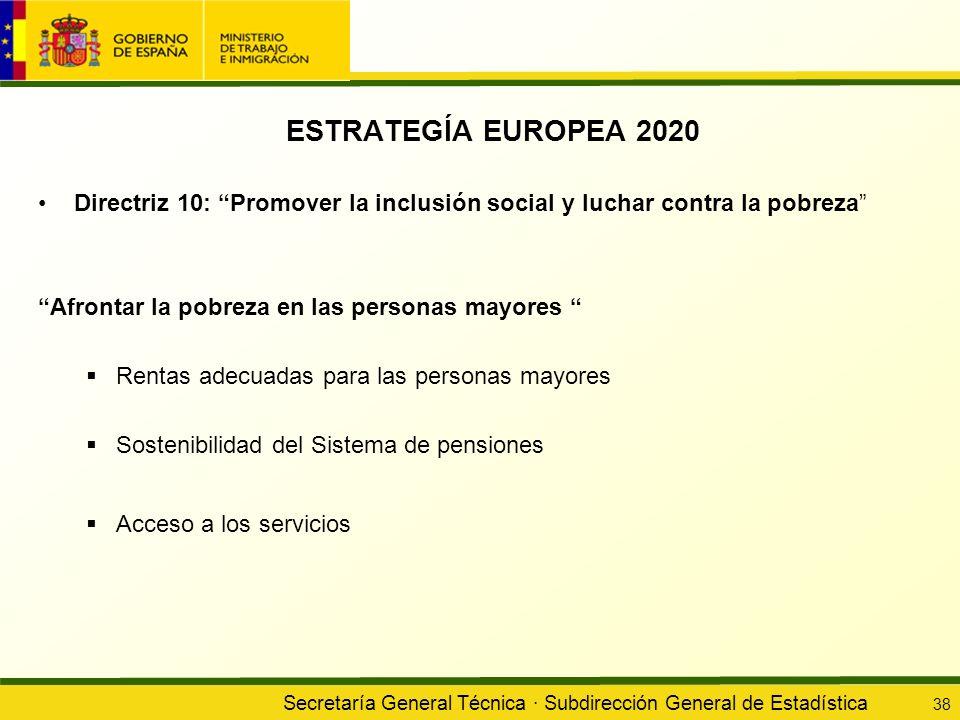 ESTRATEGÍA EUROPEA 2020 Directriz 10: Promover la inclusión social y luchar contra la pobreza Afrontar la pobreza en las personas mayores