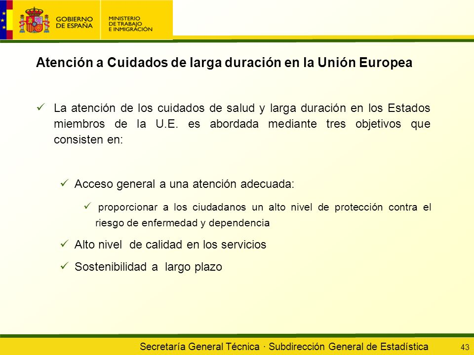 Atención a Cuidados de larga duración en la Unión Europea