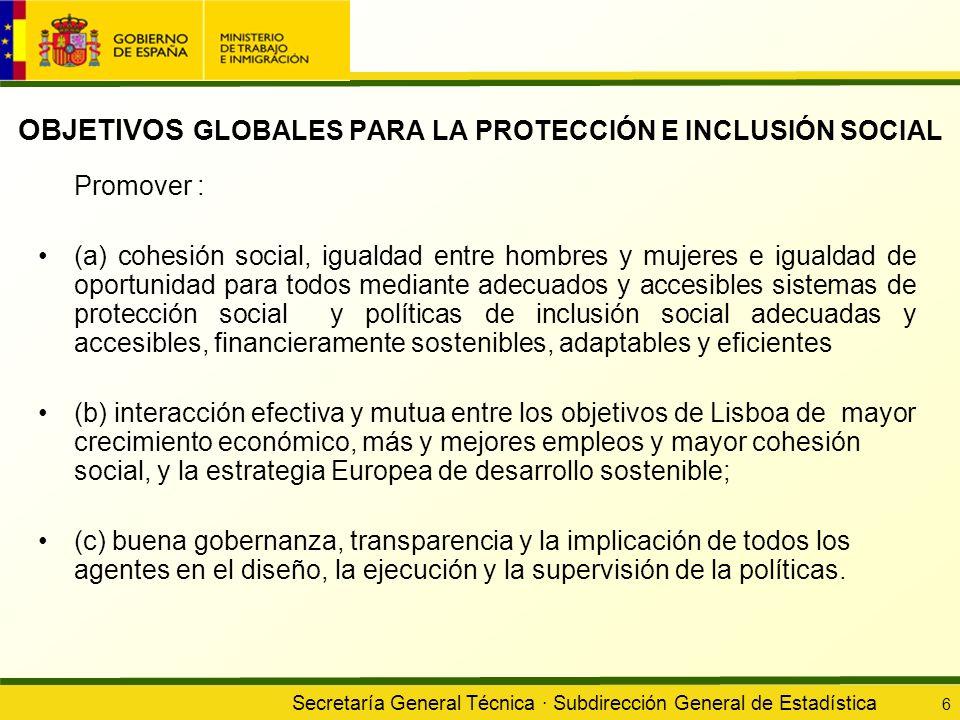OBJETIVOS GLOBALES PARA LA PROTECCIÓN E INCLUSIÓN SOCIAL