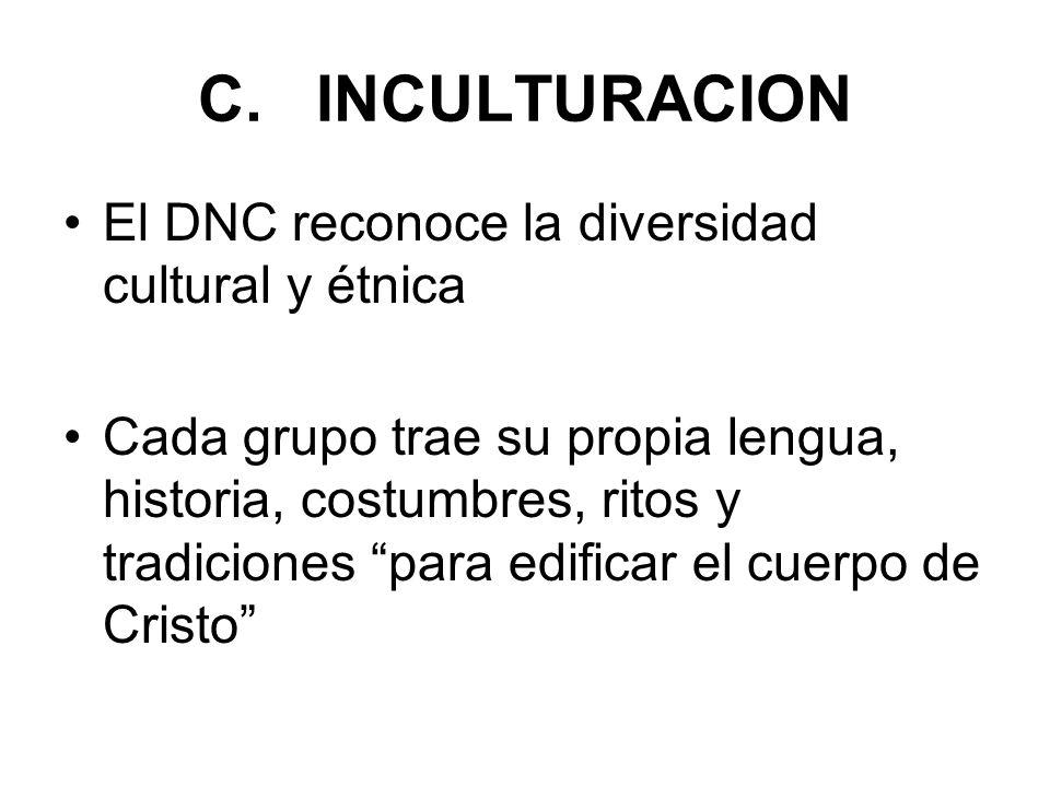 C. INCULTURACION El DNC reconoce la diversidad cultural y étnica