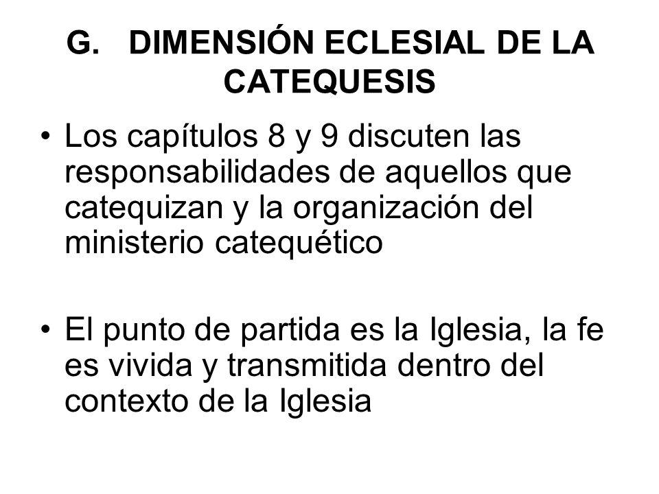 G. DIMENSIÓN ECLESIAL DE LA CATEQUESIS