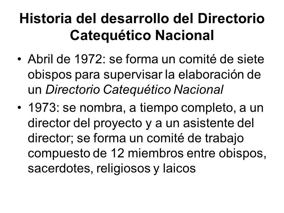 Historia del desarrollo del Directorio Catequético Nacional