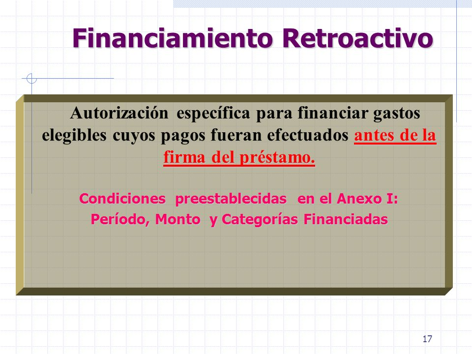 Financiamiento Retroactivo