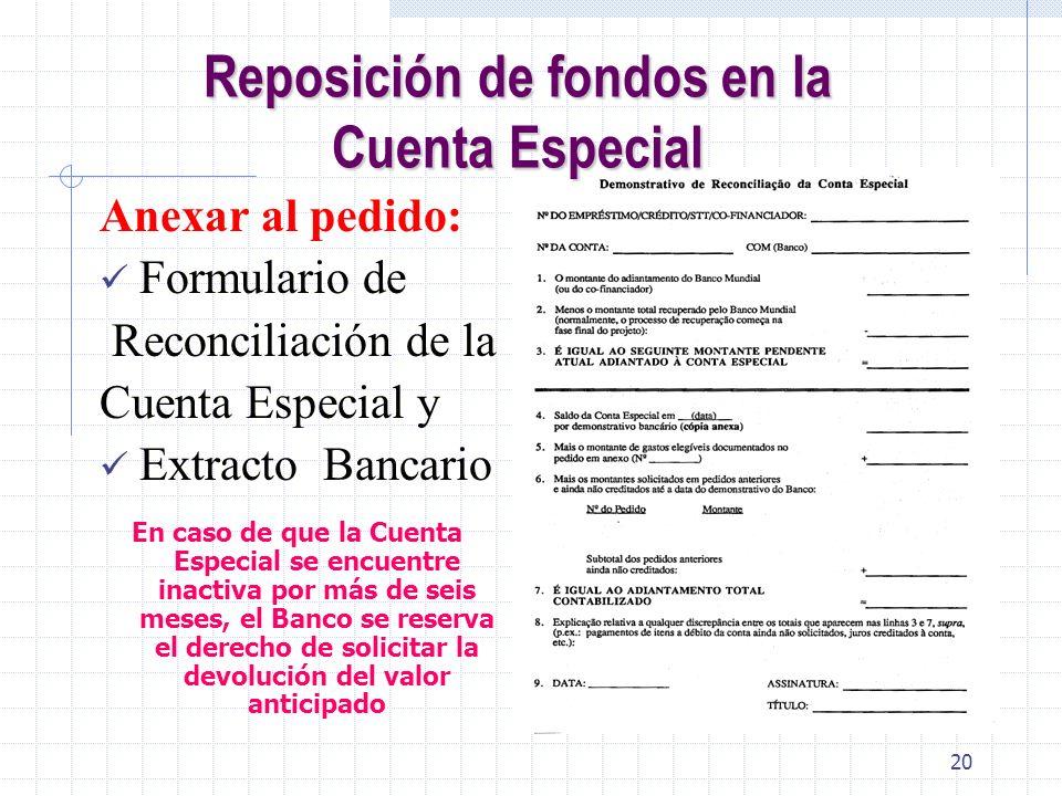 Reposición de fondos en la Cuenta Especial