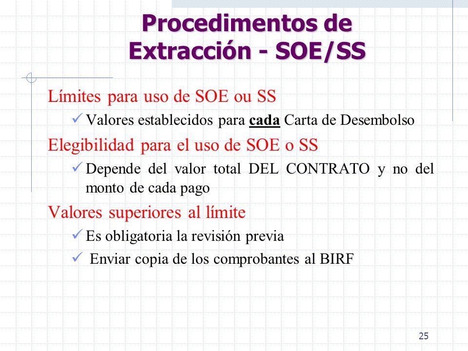 Procedimentos de Extracción - SOE/SS
