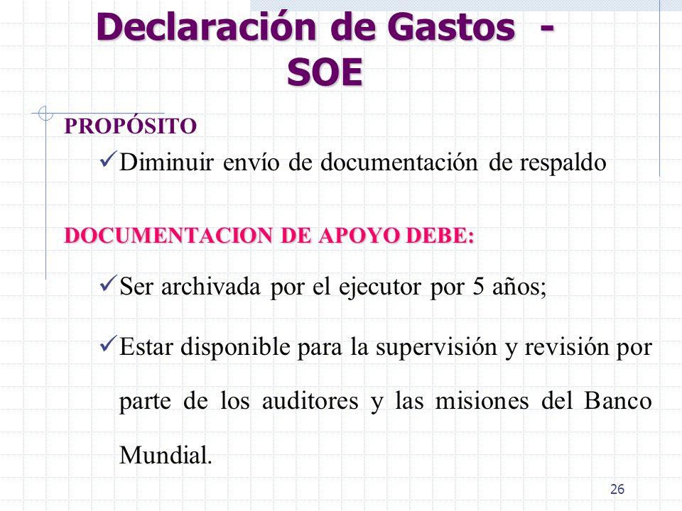 Declaración de Gastos - SOE