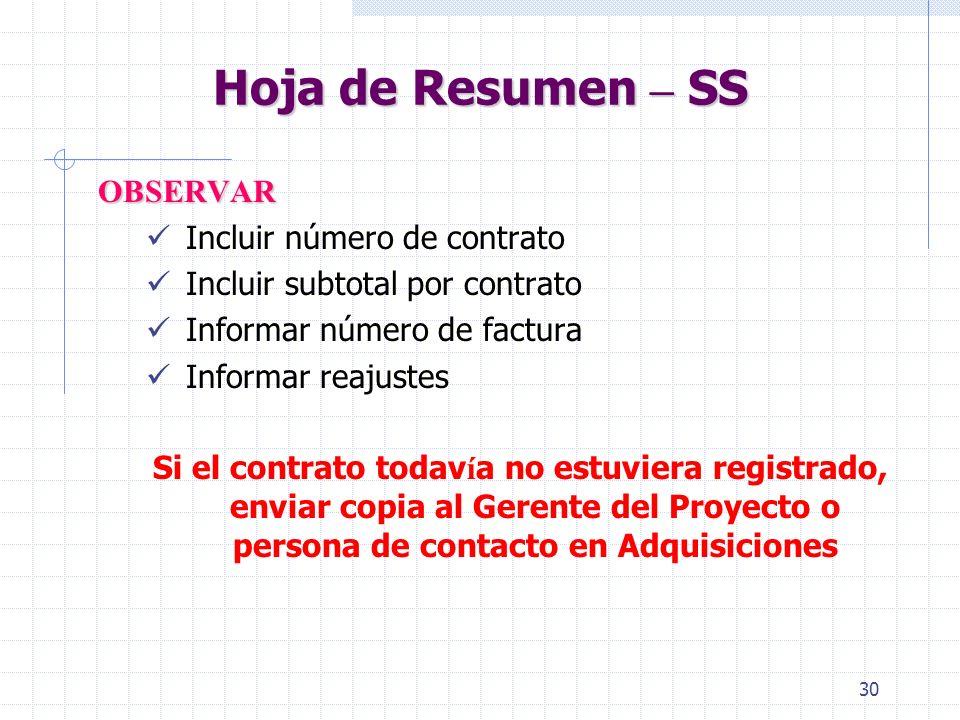 Hoja de Resumen – SS OBSERVAR Incluir número de contrato