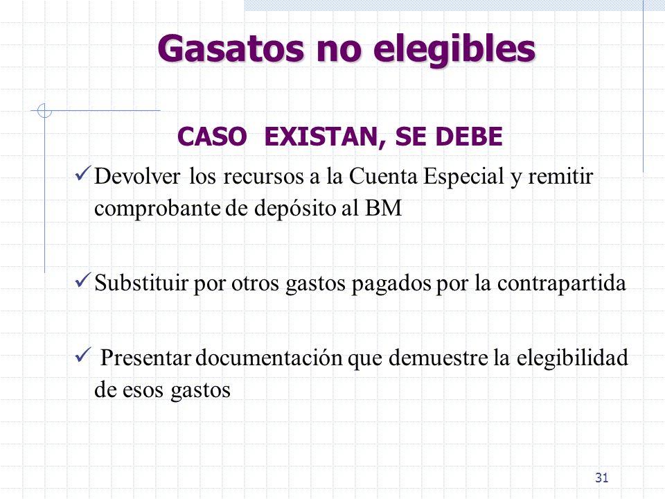 Gasatos no elegibles CASO EXISTAN, SE DEBE
