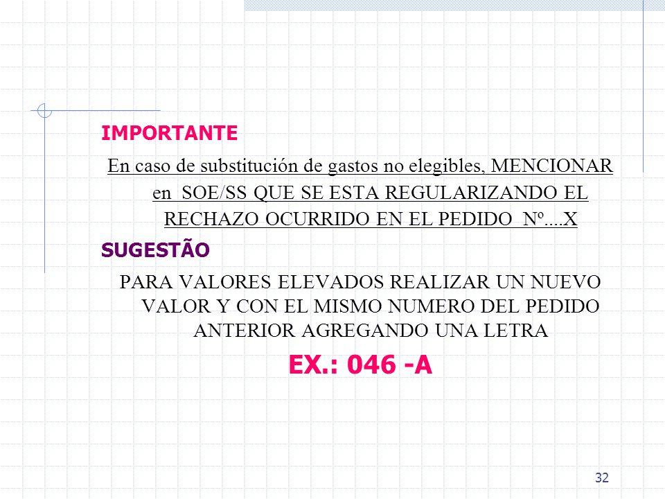 IMPORTANTE En caso de substitución de gastos no elegibles, MENCIONAR en SOE/SS QUE SE ESTA REGULARIZANDO EL RECHAZO OCURRIDO EN EL PEDIDO Nº....X.