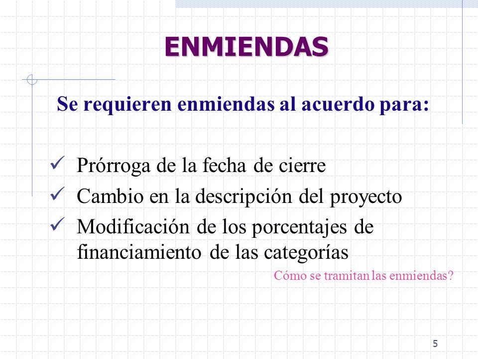 ENMIENDAS Se requieren enmiendas al acuerdo para: