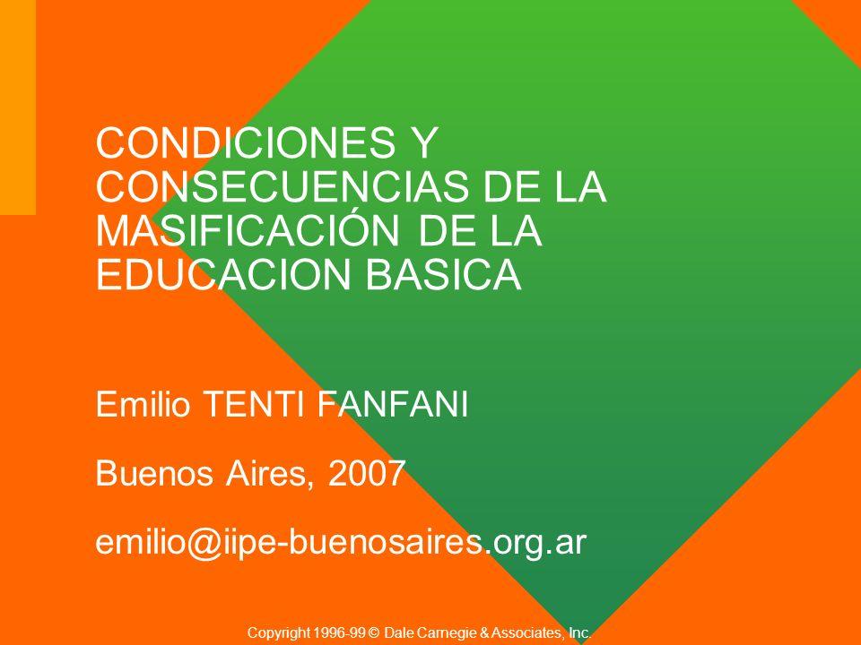 CONDICIONES Y CONSECUENCIAS DE LA MASIFICACIÓN DE LA EDUCACION BASICA