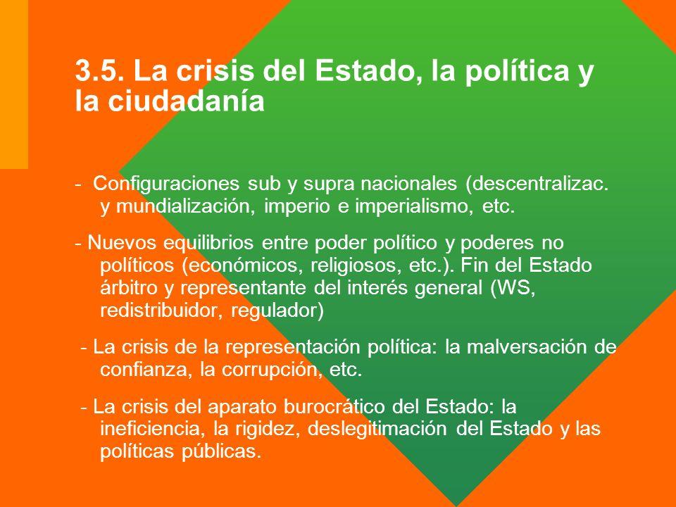 3.5. La crisis del Estado, la política y la ciudadanía