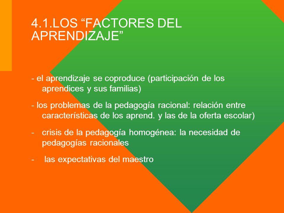 4.1.LOS FACTORES DEL APRENDIZAJE