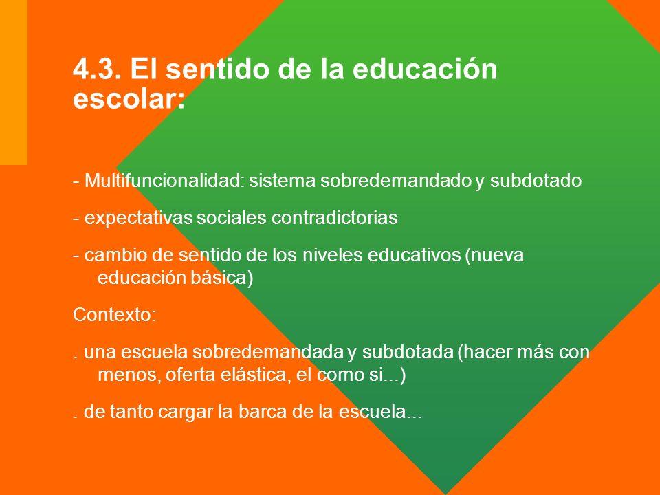 4.3. El sentido de la educación escolar: