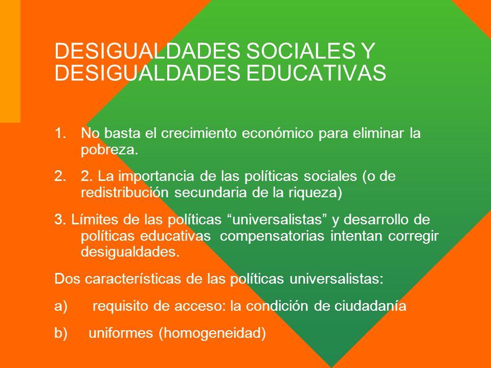 DESIGUALDADES SOCIALES Y DESIGUALDADES EDUCATIVAS