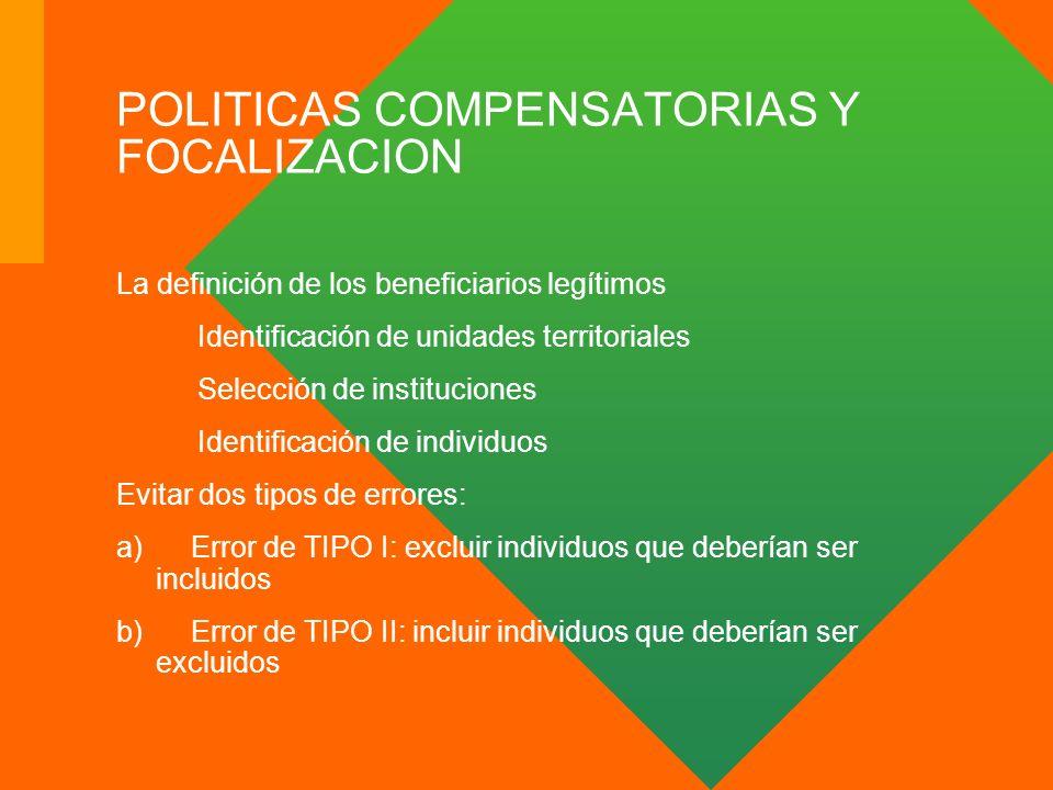 POLITICAS COMPENSATORIAS Y FOCALIZACION