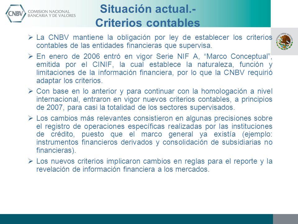 Situación actual.- Criterios contables