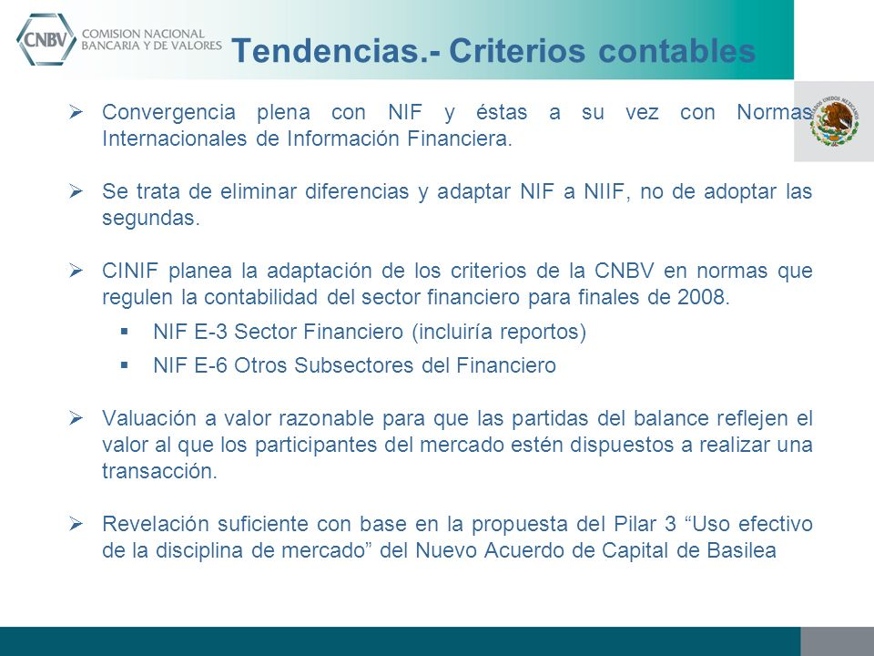 Tendencias.- Criterios contables