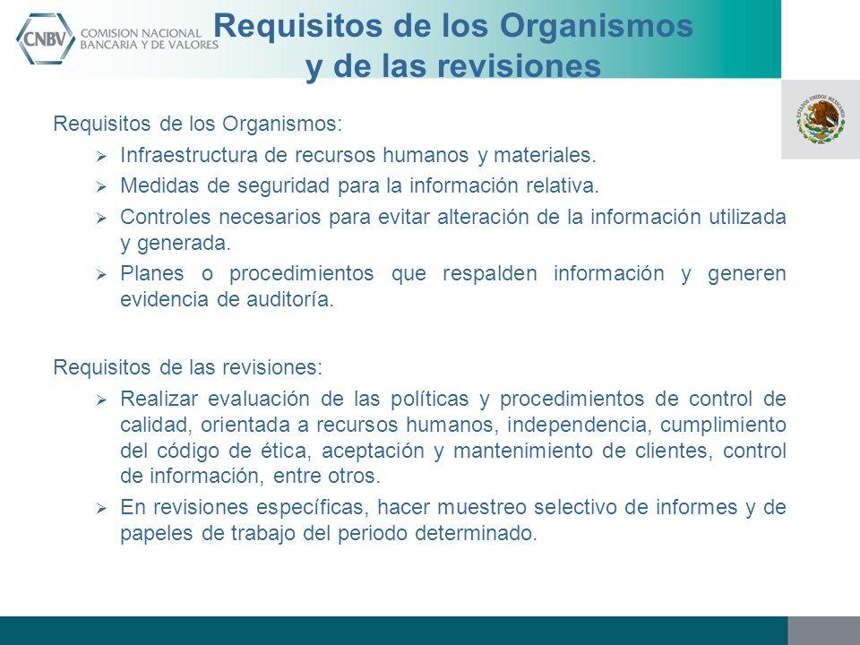 Requisitos de los Organismos y de las revisiones