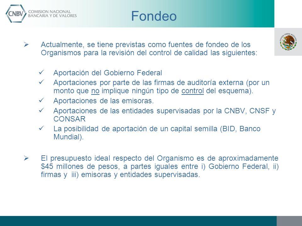 Fondeo Actualmente, se tiene previstas como fuentes de fondeo de los Organismos para la revisión del control de calidad las siguientes:
