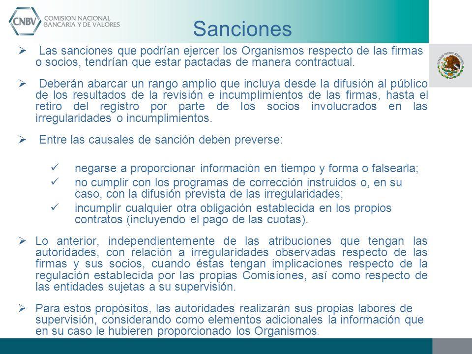 Sanciones Las sanciones que podrían ejercer los Organismos respecto de las firmas o socios, tendrían que estar pactadas de manera contractual.