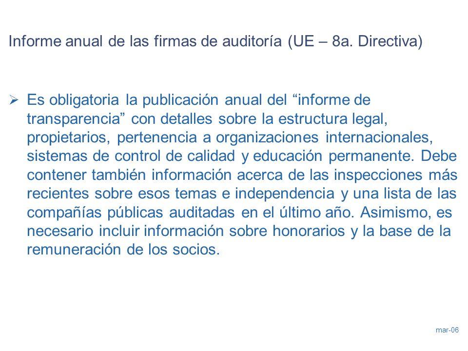Informe anual de las firmas de auditoría (UE – 8a. Directiva)