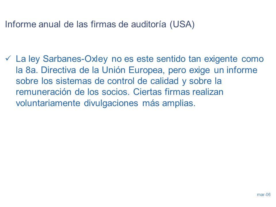 Informe anual de las firmas de auditoría (USA)