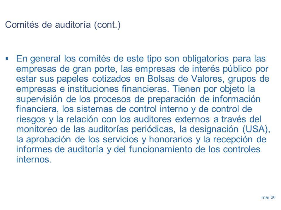 Comités de auditoría (cont.)