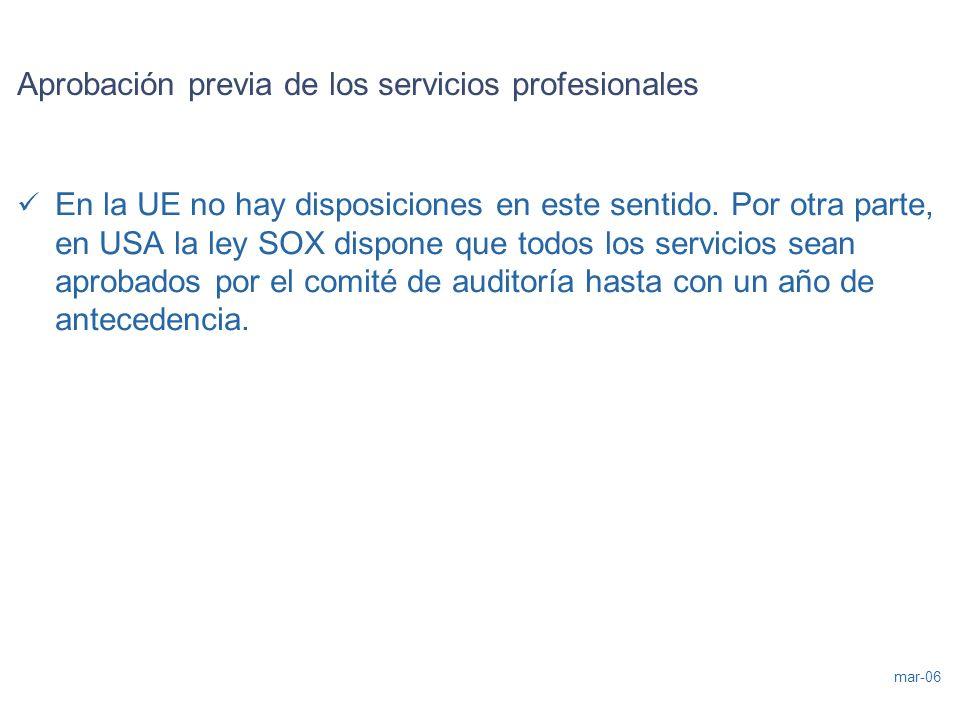 Aprobación previa de los servicios profesionales