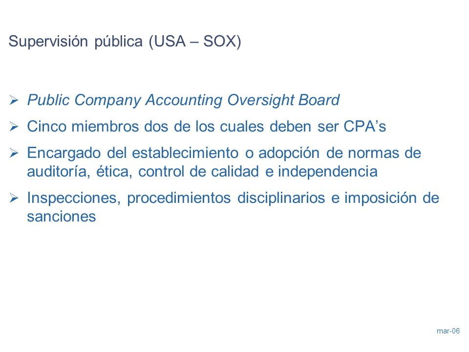 Supervisión pública (USA – SOX)