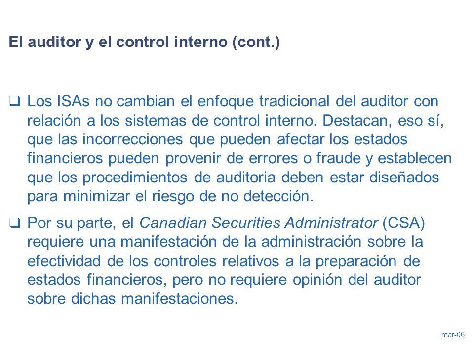 El auditor y el control interno (cont.)