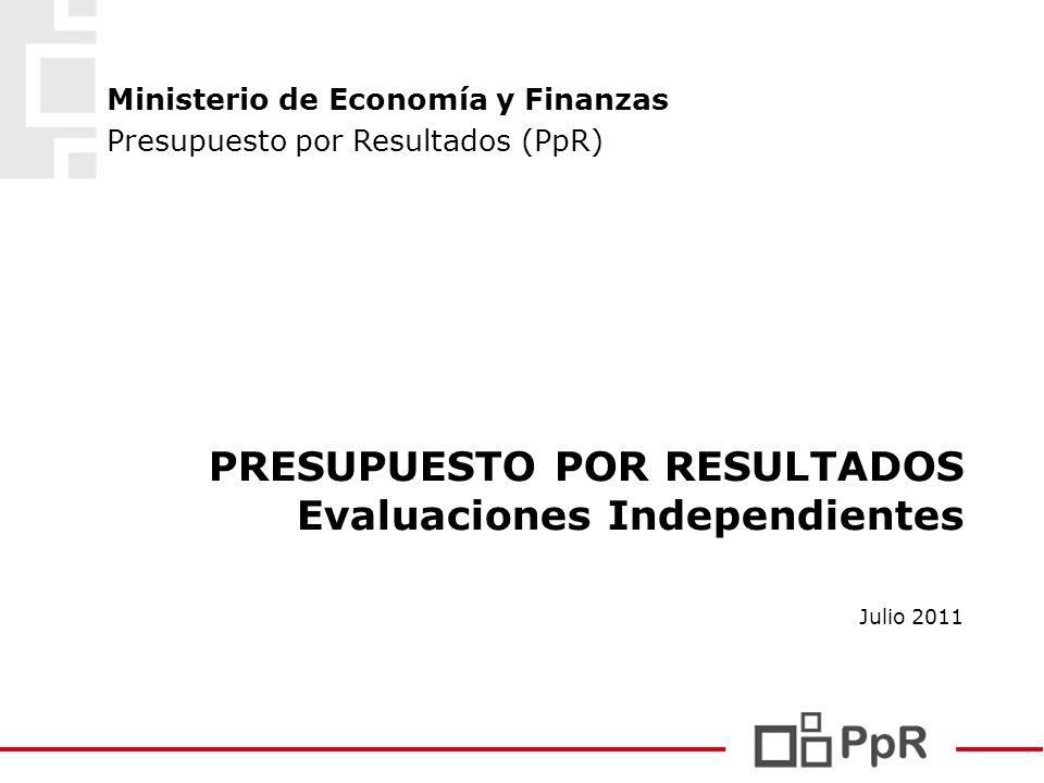 PRESUPUESTO POR RESULTADOS Evaluaciones Independientes