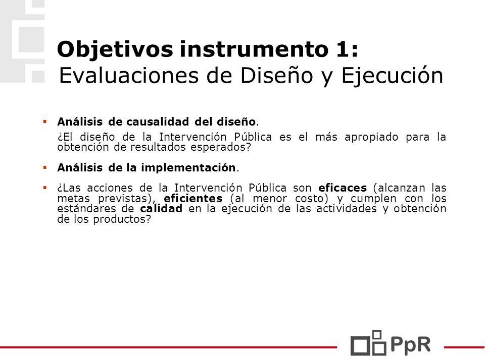 Objetivos instrumento 1: Evaluaciones de Diseño y Ejecución