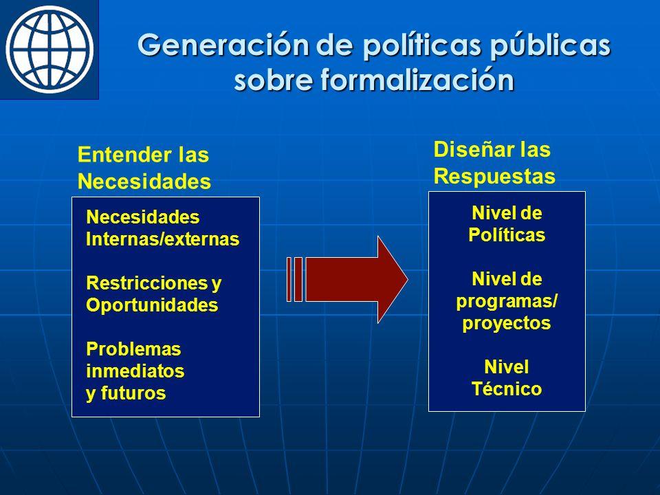 Generación de políticas públicas sobre formalización