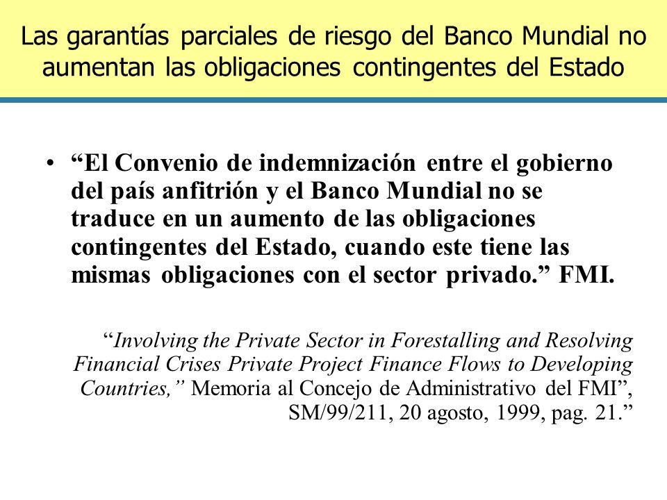 Las garantías parciales de riesgo del Banco Mundial no aumentan las obligaciones contingentes del Estado